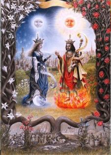 SPLENDOR SOLIS, Sun King & Moon Queen, pencil on paper