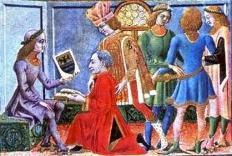 Bianchini oferecendo as tábuas astrológicas a Frederico II