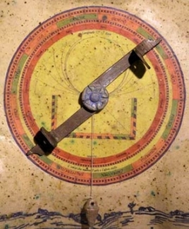 The astrolabe back includes the zodiac