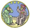 Maître arabe et disciple latin (gravure du XVIe siècle)