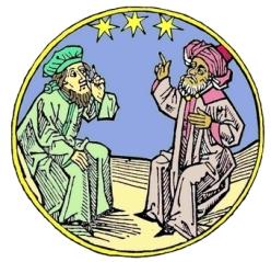 Maître arabe et disciple latin (gravure du XVIe siècle)_ok