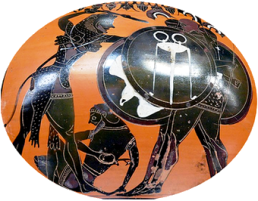 Heracles fighting Geryon, amphora by the E Group, ca. 540 BC, Louvre_