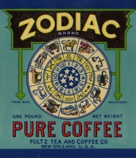 Vintage Zodiac Coffee Can Label from New Orleans