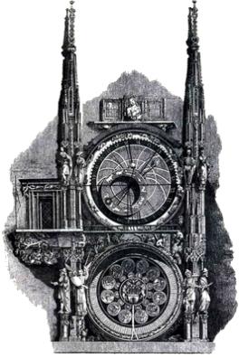 El reloj de la fachada del ayuntamiento de Praga tiene encima de las esferas dos torretas_