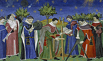 Medieval astrologers and surveyors at work, 15th century