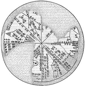 Planisferio asirio (siglo VII a.C.) con diversas constelaciones