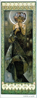 The Moon by Alphonse Mucha.
