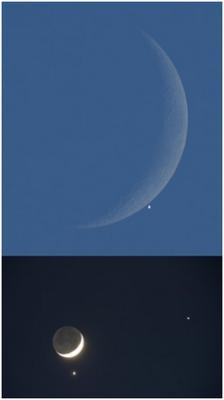 Imagem da conjunção da Lua, Vénus e Júpiter ao anoitecer do dia 1 de Dezembro de 2008