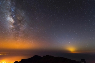 Moon, Milky Way and Zodiacal Light_