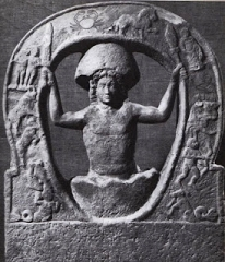 Ancient art depicting Mithras being born out of a rock