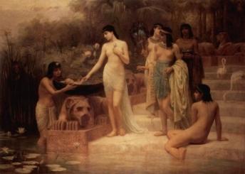 A filha de faraó encontra Moisés(Edwin Long)