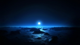 a_blue_sun_low_in_the_sky_over_an_ocean_with_rocks