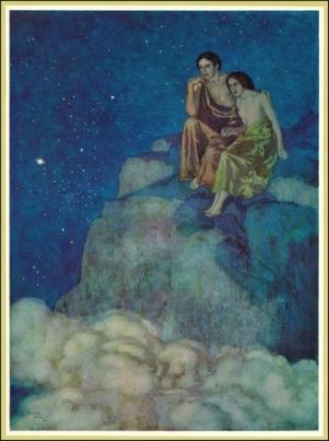 Mercury and Venus in conjunction to the Sun, edmund-dulac-al-araf (2)