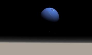 Vista simulada de Netuno no céu de Tritão.