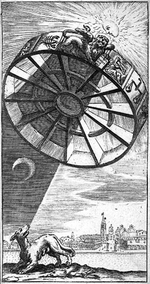 Boethius' Rota Fortuna or wheel of fortune casting a shadow over a dog; engraving emblematic of the black plague, ca. 1650. (2)