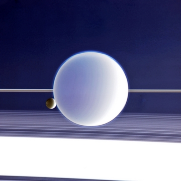 Titan and Enceladus drifting above Saturns rings