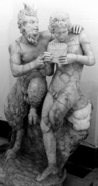 Statuette du dieu Pan et son éromène, Daphnis, 1er siècle av. J.-C., Musée archéologique national de Naples