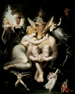 Titania Awakes, Surrounded by Attendant Fairies, Clinging Rapturously_
