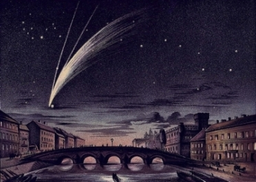 Depiction of Comet Donati (1858), published 1888. Arcturus to be seen at the comet's head - Credit E. Weiss