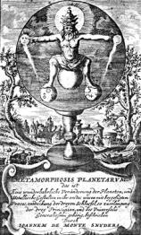 Frontispiece from Monte-Snyders Metamorpohosis planetarum, 1663