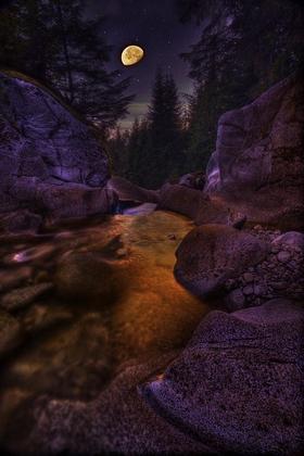 Moon Over Humphrey Falls