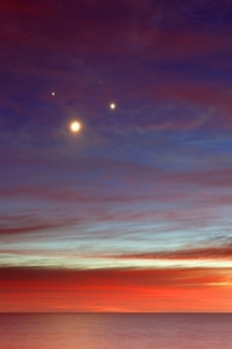 The Moon, Venus, Jupiter and Aldebaran making a square in the sky just before sunrise