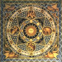 Mozaïek van Cuypers de vloer van het koor van de Munsterkerk met het Benedicite.