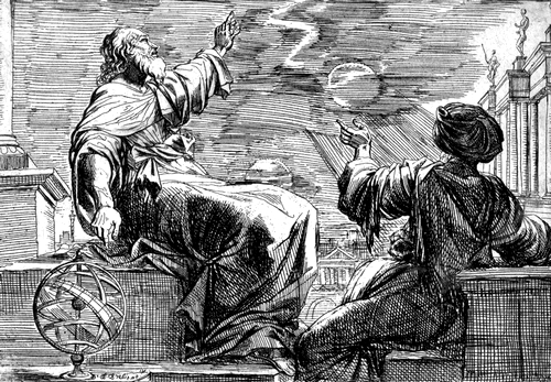 Two-philosophers-observing-an-eclipse_antique-city-in-the-background-Etching-1024x752