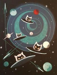 El-Gato-Gomez-Retro-Outer-Space-Rocket-Flying