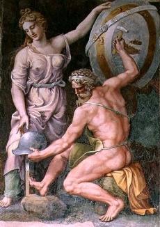 _Hephaistos_forging_Achilles'_Armor_by_Giulio_Romano_ca._1492-1546_from_the_Sala_di_Troia_Palazzo_Ducale_Mantua