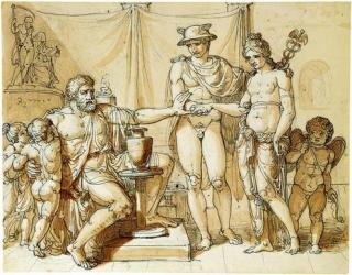 Hermes presents Pandora to Epimetheus