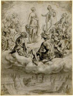 Concílio dos Deuses (Eneida de Virgílio, Livro X), por Francis Cleyn em 1582-1658.