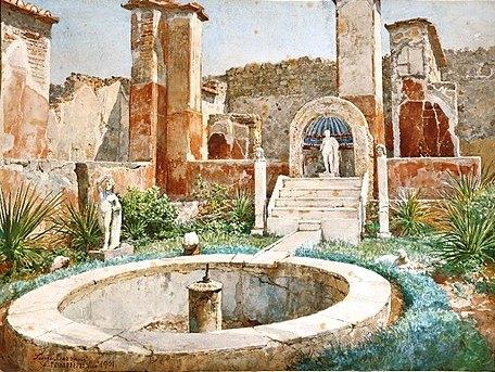 Pompeii_Fountain_watercolor_by_Luigi_Bazzani_(before_1927)