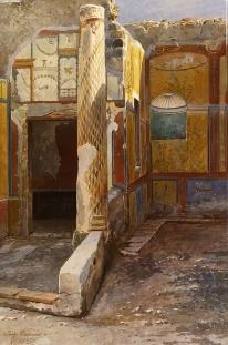 Pompeii_interior_watercolor_by_Luigi_Bazzani_(before_1927)